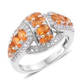 Salamanca Fire Opal, Cambodian Zircon Platinum Over Sterling Silver Ring (Size 5.0) TGW 2.40 cts.