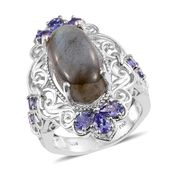 Malagasy Labradorite, Tanzanite Platinum Over Sterling Silver Elongated Ring (Size 5.0) TGW 11.97 cts.