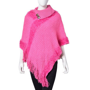 Pink 100% Acrylic Poncho with Tassels (35.43x35.43 in)