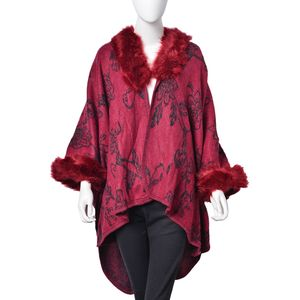 Wine Red and Black 100% Acrylic Floral Pattern Faux Fur Trimmed Kimono (One Size)