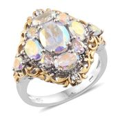 Mercury Mystic Topaz, Cambodian Zircon 14K YG and Platinum Over Sterling Silver Ring (Size 8.0) TGW 5.72 cts.