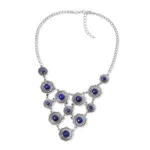 Lapis Lazuli Black Oxidized Silvertone Bib Necklace (18 in) TGW 100.00 cts.
