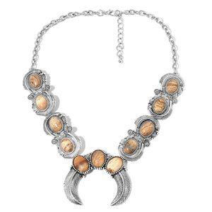 Picture Jasper Black Oxidized Silvertone Bib Necklace (18 in) TGW 100.00 cts.
