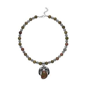 Unakite Black Oxidized Silvertone Necklace (19 in) TGW 250.00 cts.