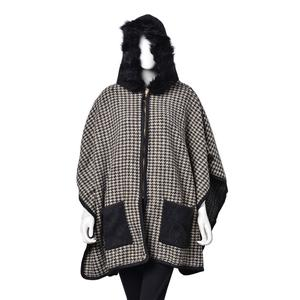 Black and Cream 5% Wool, 25% Acrylic, 25% Cotton and 45% Polyester Houndstooth Zipper Poncho with Faux Fur Tim Hood and Pockets (One Size)