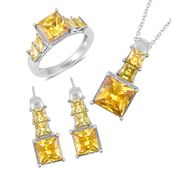 Simulated Yellow Sapphire Stainless Steel Earrings, Ring (Size 9) and Pendant With Chain (20 in) TGW 25.00 cts.
