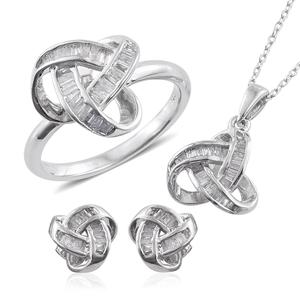 Diamond Platinum Over Sterling Silver Knotted Earrings, Ring (Size 9) and Pendant With Chain (20 in) TDiaWt 0.90 cts, TGW 0.90 cts.