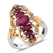 Niassa Ruby 14K YG and Platinum Over Sterling Silver Openwork Elongated Ring (Size 10.0) TGW 4.31 cts.