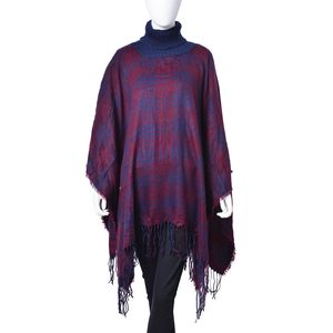 Navy and Wine Red Checks Pattern 100% Acrylic Poncho (31.5x49.22 in)