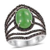 Burmese Green Jade, Thai Black Spinel Black Rhodium & Platinum Over Sterling Silver Ring (Size 6.0) TGW 7.63 cts.