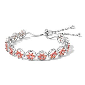 Simulated Orange and White Diamond Silvertone Magic Ball Floral Bracelet (Adjustable) TGW 20.00 cts.