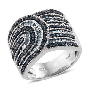 One Day TLV Blue Diamond (IR) Black Rhodium & Platinum Over Sterling Silver Ring (Size 5.0) TDiaWt 1.00 cts, TGW 1.00 cts.