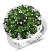 Russian Diopside, Cambodian Zircon Platinum Over Sterling Silver Cluster Ring (Size 6.0) TGW 4.62 cts.