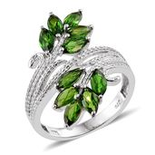 Russian Diopside Platinum Over Sterling Silver Bypass Ring (Size 9.0) TGW 2.90 cts.