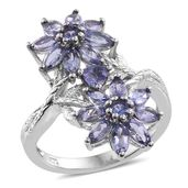 Tanzanite Platinum Over Sterling Silver Floral Elongated Ring (Size 9.0) TGW 2.95 cts.