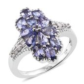 Tanzanite, Cambodian Zircon Platinum Over Sterling Silver Ring (Size 6.0) TGW 2.84 cts.