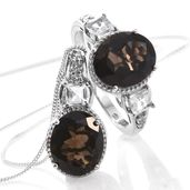 Brazilian Smoky Quartz, White Topaz Platinum Over Sterling Silver Ring (Size 11) and Pendant With Chain (20 in) TGW 10.56 cts.
