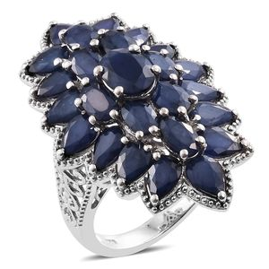 Kanchanaburi Blue Sapphire Platinum Over Sterling Silver Elongated Ring (Size 6.0) TGW 16.00 cts.