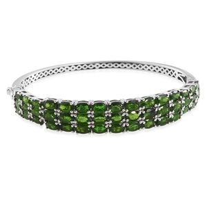 Kevin's Presidential Deal Russian Diopside Platinum Over Sterling Silver Bangle (7.25 in) TGW 18.87 cts.