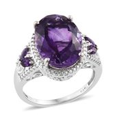 Kevin's Presidential Deal Lusaka Amethyst Platinum Over Sterling Silver Ring (Size 10.0) TGW 8.82 cts.