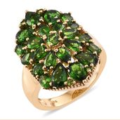Russian Diopside 14K YG Over Sterling Silver Cluster Ring (Size 7.0) TGW 6.02 cts.