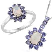 Kevin's Presidential Deal Ethiopian Welo Opal, Tanzanite Platinum Over Sterling Silver Ring (Size 8) and Pendant With Chain (20 in) TGW 2.42 cts.