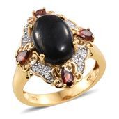 Greenland Nuummite, Mozambique Garnet, Cambodian Zircon 14K YG Over Sterling Silver Ring (Size 9.0) TGW 7.28 cts.