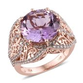 Rose De France Amethyst, Cambodian Zircon 14K RG Over Sterling Silver Ring (Size 10.0) TGW 10.21 cts.