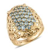 Nitin's Knockdown Deals Electric Blue Topaz 14K YG Over Sterling Silver Ring (Size 8.0) TGW 2.90 cts.