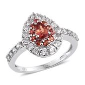 Orange Sapphire, Cambodian Zircon Platinum Over Sterling Silver Ring (Size 8.0) TGW 1.87 cts.