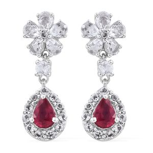 Niassa Ruby, White Topaz Platinum Over Sterling Silver Floral Drop Earrings TGW 5.08 cts.