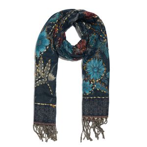 Navy Blue and Multi Color Hand Embroidered 100% Acrylic Reversible Fringe Scarf (78x28 in)