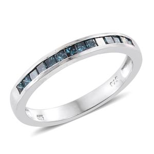 Blue Diamond (IR) Platinum Over Sterling Silver Ring (Size 8.0) TDiaWt 0.48 cts, TGW 0.48 cts.