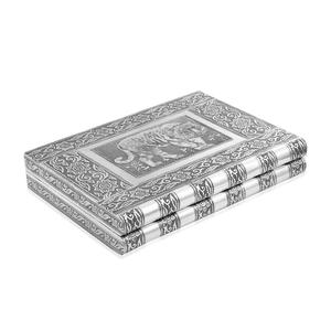 Oxidized Ring Box with Tiger Embossed Pattern (11x7.5 in) (Approx 80 Rings)