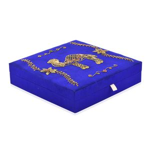 Blue with Camel Pattern Hand Embroidered Ring Box (10x10 in) (Approx 100 Rings)