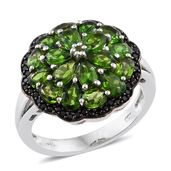 Russian Diopside, Thai Black Spinel Black Rhodium & Platinum Over Sterling Silver Ring (Size 8.0) TGW 5.02 cts.