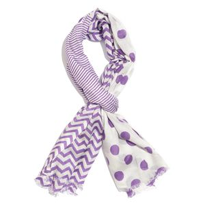 Purple and White Polka Dot & Chevron Stirpe Pattern 100% Viscose Scarf (40x72 in)
