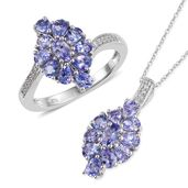 Tanzanite, Cambodian Zircon Platinum Over Sterling Silver Ring (Size 9) and Pendant With Chain (20 in) TGW 3.91 cts.