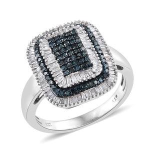 Diamond, Blue Diamond (IR) Blue Rhodium & Platinum Over Sterling Silver Ring (Size 8.0) TDiaWt 1.00 cts, TGW 1.00 cts.