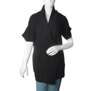Black 100% Acrylic Front Open Waterfall Collar Cardigan (XL/XXL)
