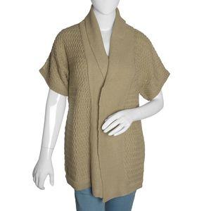 Khaki 100% Acrylic Front Open Waterfall Collar Cardigan (M/L)