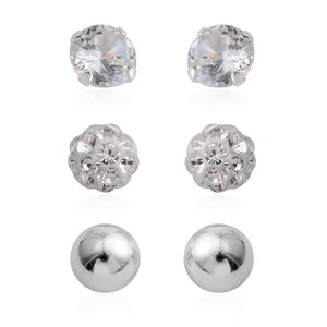 Simulated Diamond, Austrian Crystal Sterling Silver Set of 3 Disco Ball Earrings Set TGW 1.32 cts.