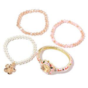 STRADA Japanese Movement Pink Enameled Bracelet Watch and Set of 3 Bracelets (Stretchable) in Goldtone