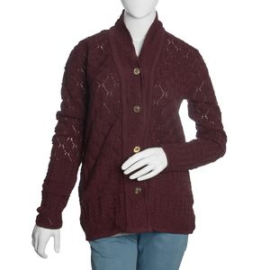 Burgundy 100% Acrylic Knitted Button-up V-Neck Cardigan (M/L)