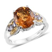 Serra Gaucha Citrine, Tanzanite 14K YG and Platinum Over Sterling Silver Ring (Size 9.0) TGW 4.80 cts.