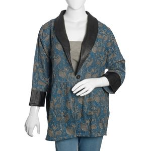 Blue, Gray and Black 100% Acrylic Warm Knit Front Open Jacket with Long Collar (1X/2X)