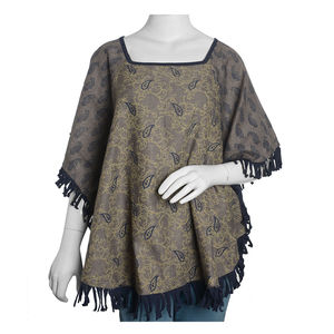 Navy and Taupe 100% Acrylic Floral and Paisley Pattern Square Neck Poncho with Fringes (One Size)