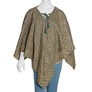 Green and Brown 100% Acrylic Leaf Pattern V-Shape Poncho with Drawstring Tassel (One Size)