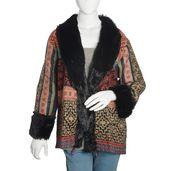 Multi Color 100% Acrylic Cozy Cardigan with Black Faux Fur Trimming (1X/2X)