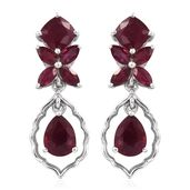 Niassa Ruby Platinum Over Sterling Silver Dangle Earrings TGW 11.40 cts.
